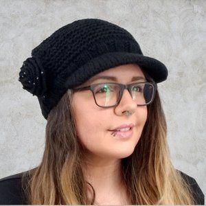 SanDiego Hat Company Black Crochet Newsboy Cap